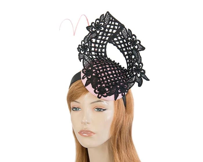 Fascinators Online - Pink & black lace pillbox fascinator by Fillies Collection 1