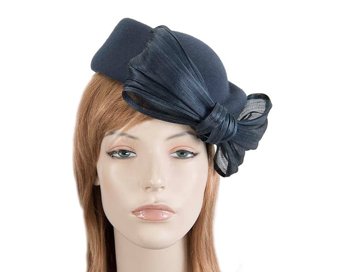 Fascinators Online - Navy felt ladies fashion beret hat with bow by Fillies Collection 2