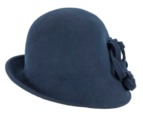 Fascinators Online - Navy felt cloche by Max Alexander 6
