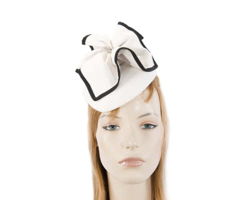 Fascinators Online - White & black leather pillbox fascinator by Max Alexander 9