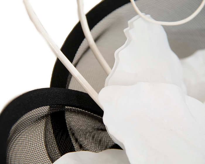 Fascinators Online - Bespoke black & white heart fascinator by Fillies Collection 3