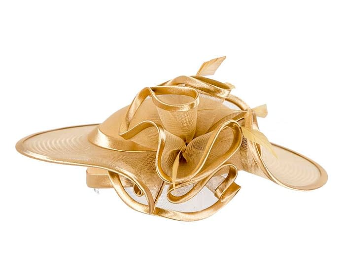Fascinators Online - Gold custom made Mother of the Bride hat by Cupids Millinery 4