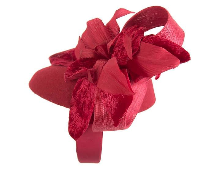 Fascinators Online - Tall red felt pillbox with flower by Fillies Collection 5