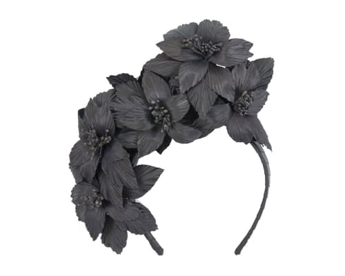 Fascinators Online - Black sculptured handcrafted flower fascinator by Fillies Collection 2