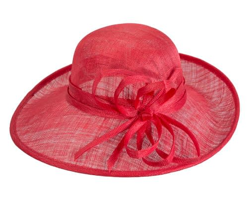 Fascinators Online - Red ladies sinamay racing hat by Max Alexander 4