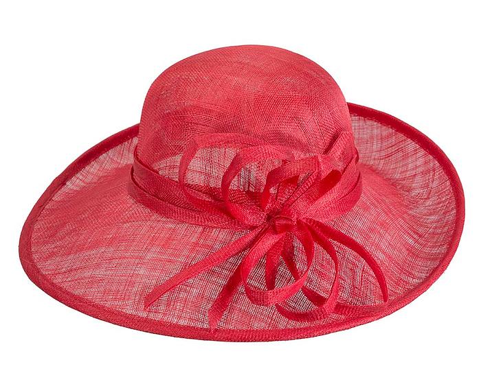 Fascinators Online - Red ladies sinamay racing hat by Max Alexander 4