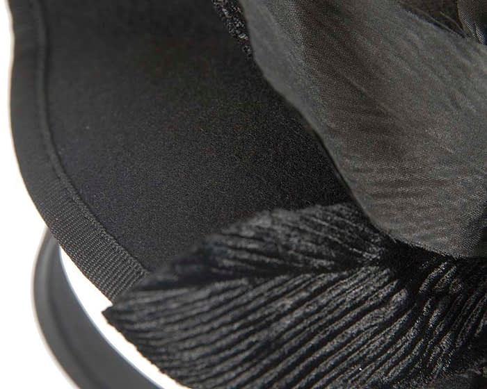 Fascinators Online - Black winter felt fascinator by Fillies Collection 3