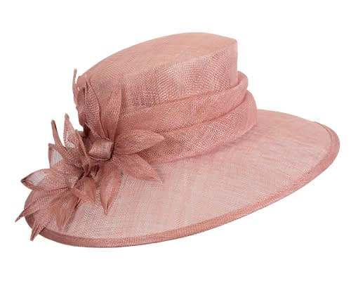 Fascinators Online - Large traditional dusty pink racing hat by Max Alexander 2