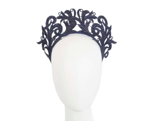 Fascinators Online - Navy lace crown racing fascinator by Max Alexander 8