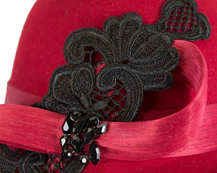 Fascinators Online - Red autumn & winter fashion felt cloche hat by Fillies Collection 5