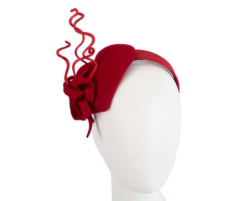 Fascinators Online - Red felt heart winter racing fascinator 9