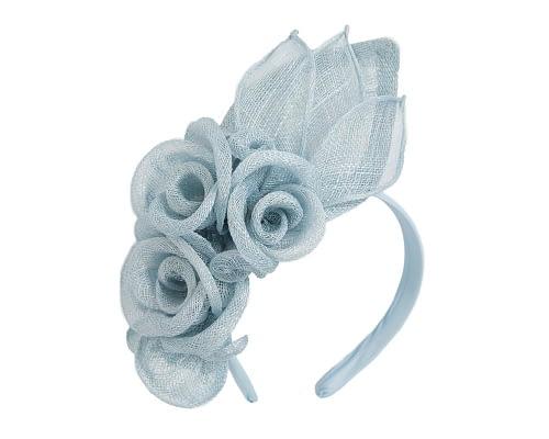 Fascinators Online - Large light blue flower headband fascinator by Max Alexander 2