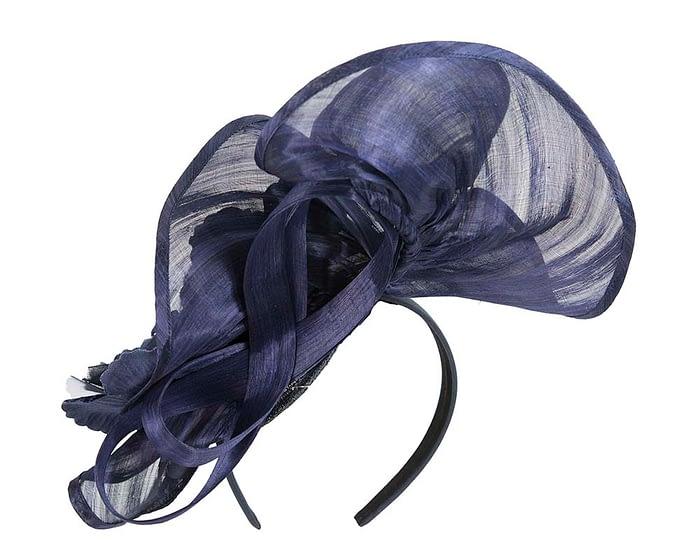 Fascinators Online - Tall navy silk abaca racing fascinator 5