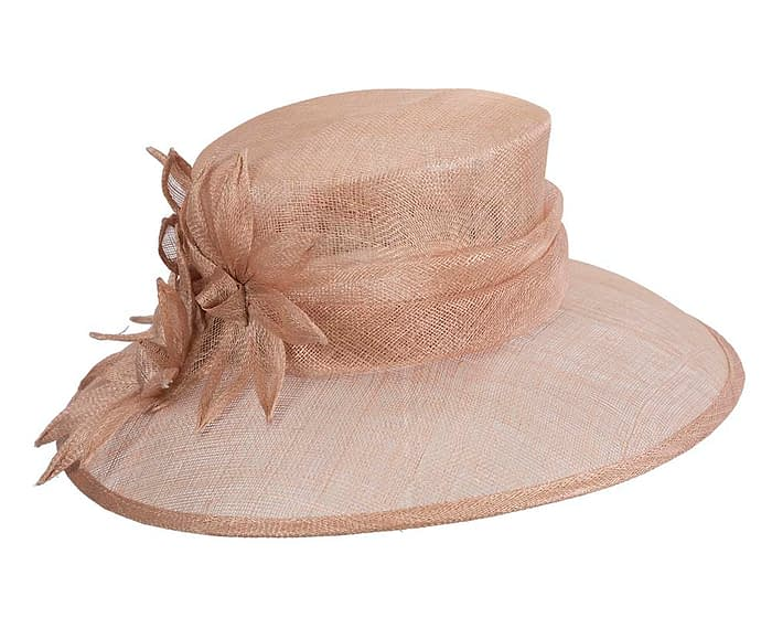Fascinators Online - Large traditional nude racing hat by Max Alexander 2
