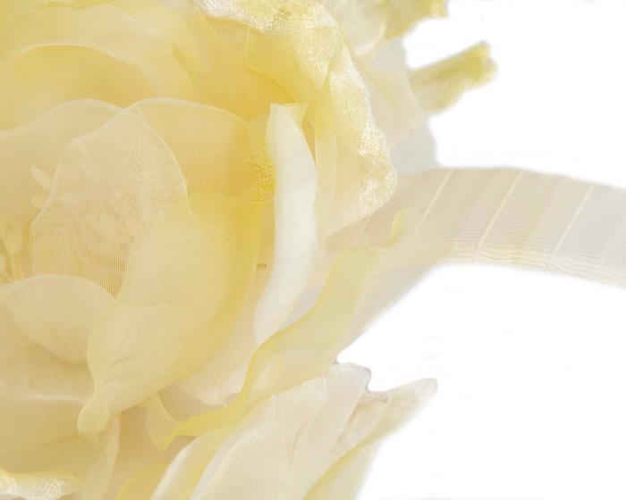 Fascinators Online - Light Yellow Silk Flower Fascinator by Fillies Collection 3