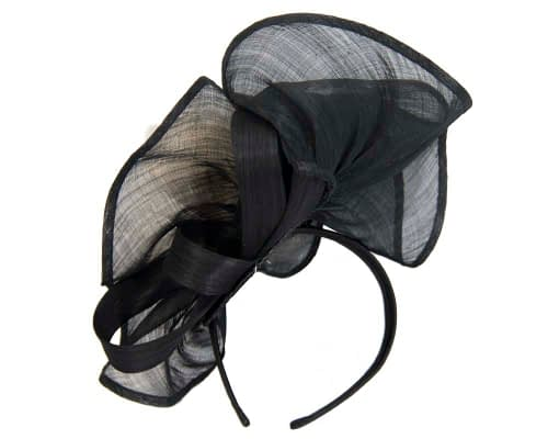 Fascinators Online - Tall black & white silk abaca racing fascinator 4