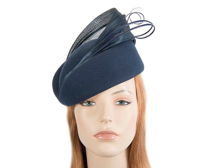 Fascinators Online - Navy felt ladies fashion beret hat with feather by Fillies Collection 1