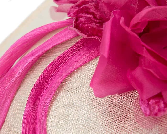Fascinators Online - Large cream & fuchsia plate racing fascinator by Fillies Collection 5