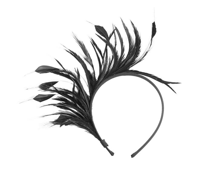 Fascinators Online - Black feather fascinator headband by Max Alexander 2