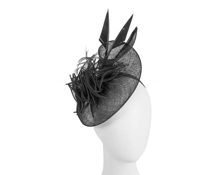 Fascinators Online - Black racing fascinator with feathers by Max Alexander 1