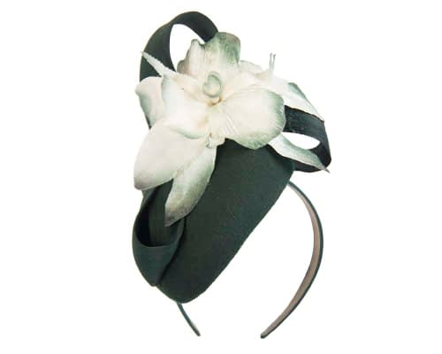 Fascinators Online - Tall green felt pillbox with cream flower by Fillies Collection 2
