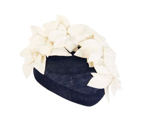 Fascinators Online - Navy & cream leather flower pillbox fascinator by Fillies Collection 2