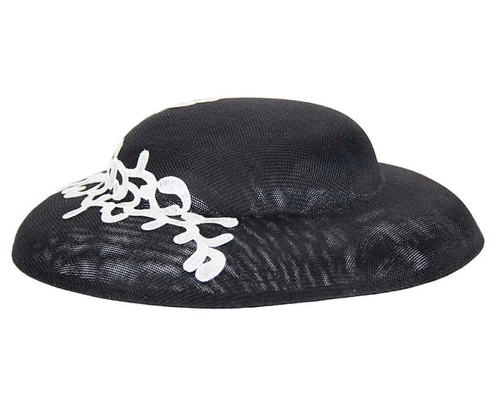 Fascinators Online - Black & white fashion boater hat with lace by Max Alexander 3