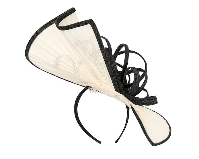 Fascinators Online - Large cream and black jinsin racing fascinator by Fillies Collection 5