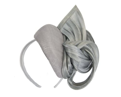 Fascinators Online - Silver pillbox fascinator with silk bow by Fillies Collection 2