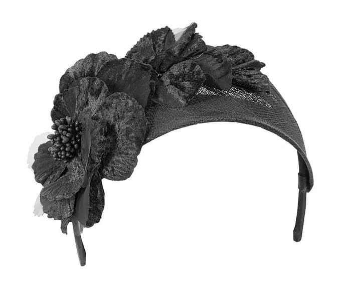 Fascinators Online - Black flower headband fascinator by Max Alexander 2