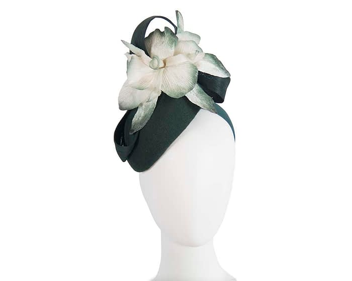 Fascinators Online - Tall green felt pillbox with cream flower by Fillies Collection 1