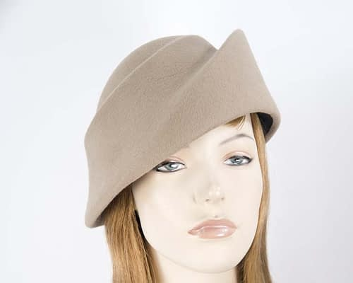 Beige felt ladies fashion hat