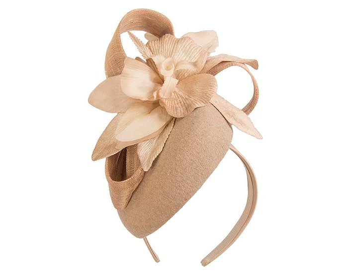 Fascinators Online - Tall beige felt pillbox with flower by Fillies Collection 2