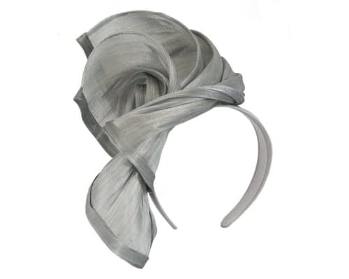 Fascinators Online - Silver twists of silk abaca fascinator by Fillies Collection 2