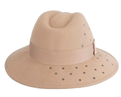 Fascinators Online - Wide brim beige felt fedora hat by Max Alexander 6