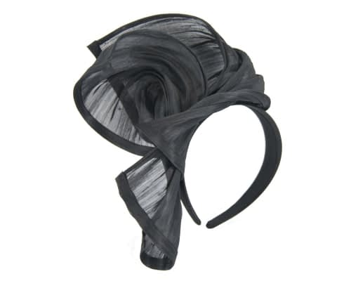 Fascinators Online - Black twists of silk abaca fascinator by Fillies Collection 2