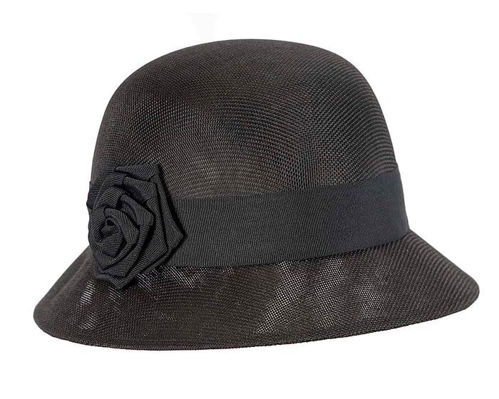 Fascinators Online - Black spring racing bucket hat by Max Alexander 2