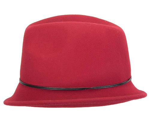 Fascinators Online - Red felt trilby hat by Max Alexander 3