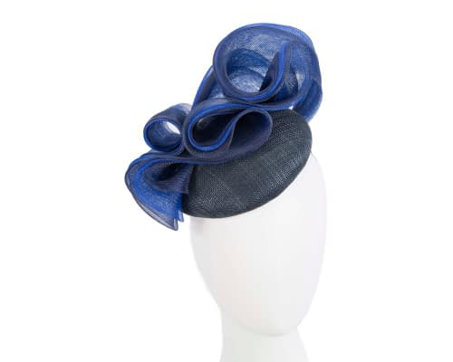 Fascinators Online - Navy & royal blue pillbox racing fascinator with wave by Fillies Collection 1