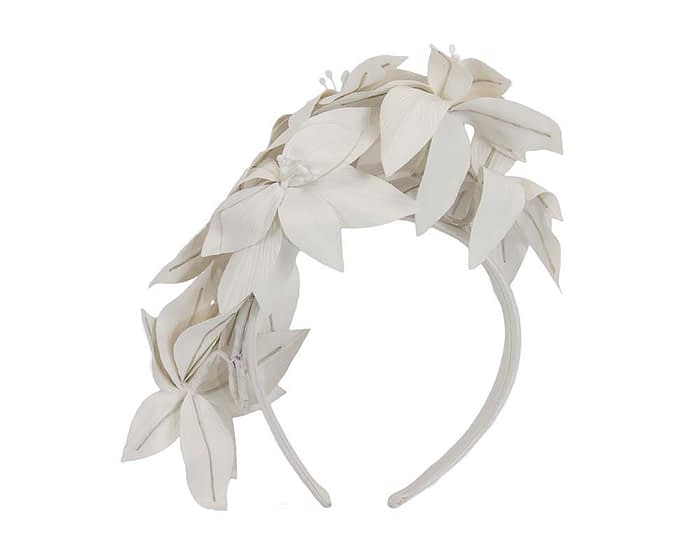 Fascinators Online - Cream leather flower headband by Fillies Collection 4
