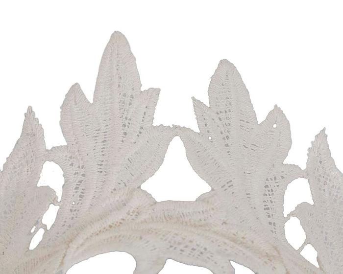 Fascinators Online - Cream lace crown fascinator by Max Alexander 3