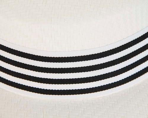 Fascinators Online - White & black boater hat by Max Alexander 3
