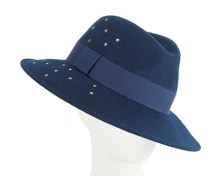 Fascinators Online - Wide brim navy felt fedora hat by Max Alexander 1