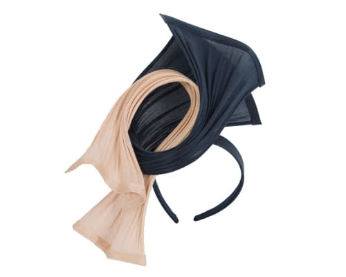 Fascinators Online - Twisted nude & navy jinsin racing fascinator by Fillies Collection 2
