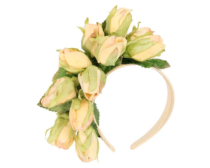 Fascinators Online - Multi-color light yellow roses flower headband by Max Alexander 2