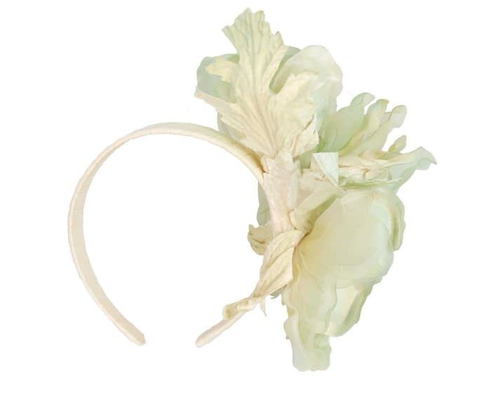 Fascinators Online - Light Green Silk Flower Fascinator by Fillies Collection 4