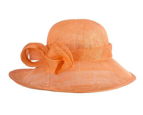 Fascinators Online - Wide brim orange sinamay racing hat by Max Alexander 3