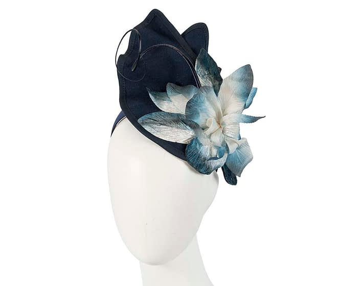 Fascinators Online - Navy and Cream winter felt fascinator by Fillies Collection 1