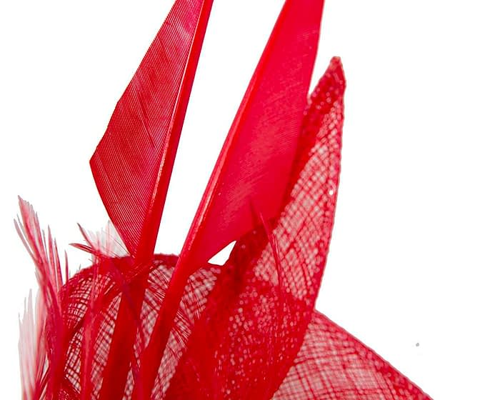 Fascinators Online - Red racing fascinator with feathers by Max Alexander 3