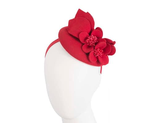 Fascinators Online - Red felt winter pillbox fascinator by Max Alexander 66